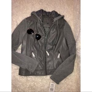 NWT GRAY LEATHER JACKET